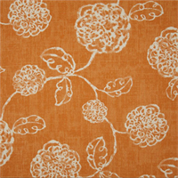 Adele Tango Orange Floral Cotton Print Drapery Fabric by Richtex Premium Prints Swatch