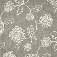 Adele Slate Grey Floral Cotton Print Drapery Fabric by Richtex Premium Prints Swatch