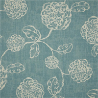 Adele Ocean Blue Floral Cotton Print Drapery Fabric by Richtex Premium Prints Swatch