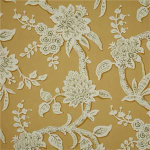 Brookhaven Marigold Yellow Floral Cotton Print Drapery Fabric by Richtex Premium Prints Swatch