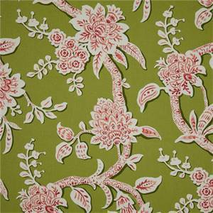 Brookhaven Frolic Green Floral Cotton Print Drapery Fabric by Richtex Premium Prints Swatch