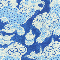 Dunmore Dragons Sapphire Blue Contemporary Linen Print Drapery Fabric by Waverly