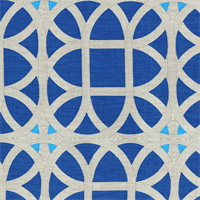Lamerie Lattice Sapphire Blue Contemporary Linen Print Drapery Fabric by Waverly