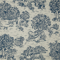 Quaker Ocean Blue Toile Cotton Print Drapery Fabric by Premium Prints Swatch