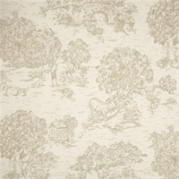 Quaker Sand Tan Toile Cotton Print Drapery Fabric by Premium Prints 30 Yard Bolt