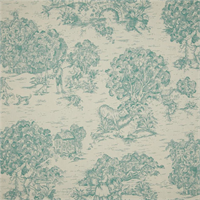Quaker Aqua Green Toile Cotton Print Drapery Fabric by Premium Prints Swatch
