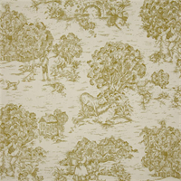 Quaker Meadow Green Toile Cotton Print Drapery Fabric by Premium Prints Swatch