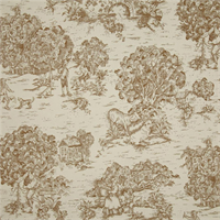 Quaker Driftwood Brown Toile Cotton Print Drapery Fabric by Premium Prints Swatch