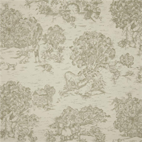 Quaker Homespun Grey Toile Cotton Print Drapery Fabric by Premium Prints Swatch