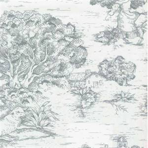 Quaker Lake Blue Toile Cotton Print Drapery Fabric by Premium Prints Swatch