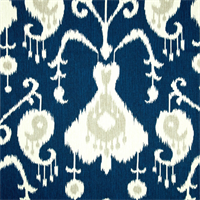 Java Navy Blue Ikat Cotton Print Drapery Fabric by Richtex Premium Prints 30 Yard Bolt