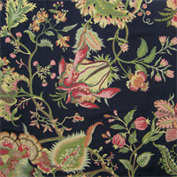 Spencer Black Jacobean Floral Upholstery Fabric Swatch