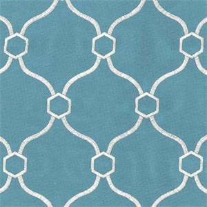 Vera Turquoise Blue Embroidered Geometric Drapery Fabric Swatch