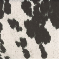 Uddermadness Domino Black Faux Fur Upholstery Fabric Swatch