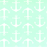 Sailor Mint Twill Anchor Print Drapery Fabric by Premier Prints