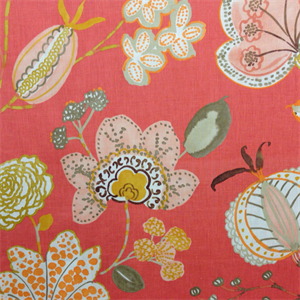 Gentle Gesture Sunset Orange Floral Print Linen Drapery Fabric