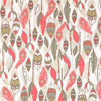 Cheyenne Bittersweet Slub Pink Feather Print Drapery Fabric by Premier Prints 30 Yard Bolt