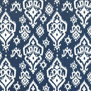 Raji Canal Slub Blue Ikat Print Drapery Fabic by Premier Prints 30 Yard Bolt