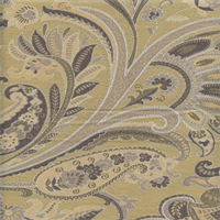 Paisley Vanilla Gold Woven Floral Upholstery Fabric Swatch