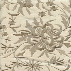 Cemb Swirl Taupe Gray Cotton Floral Embroidered Drapery Fabric