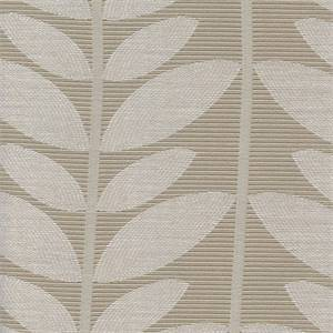 Kew Platinum Grey Leaf Drapery Fabric