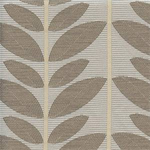 Kew Bark Tan Leaf Drapery Fabric