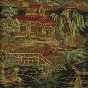 Kyoto Black Oriental Toile Upholstery Fabric by Regal