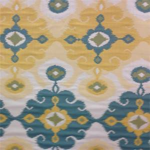 M9709 Bahama Teal Woven Ikat Floral Upholstery Fabric by Barrow Merrimac