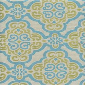 Ironworks Water Blue Scroll Geometric Upholstery Fabric