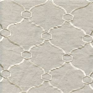 Vera Cloud Beige Geometric Embroidered Drapery Fabric