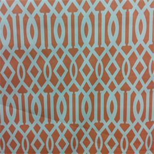 Keokit Coral Orange Geometric Cotton Drapery Fabric by Richloom