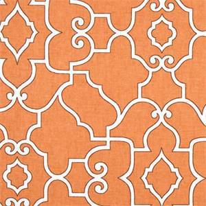 Windsor Coral Orange Geometric Cotton Drapery Fabric