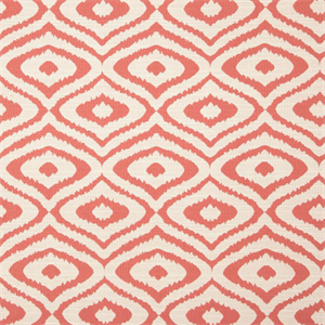 native coral pink ikat geometric woven upholstery fabric swatch