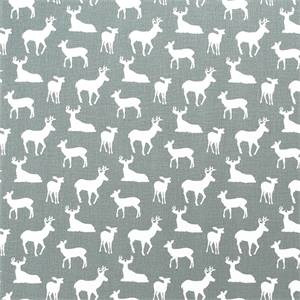 Deer Silhouette Cool Grey/White Drapery Fabric by Premier Prints