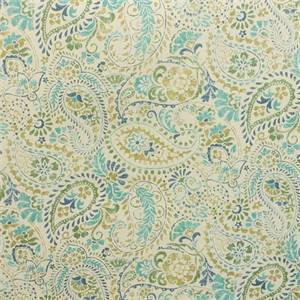 Gresham Brompton Ecru Blue Floral Paisley Cotton Drapery Fabric by Swavelle Mill