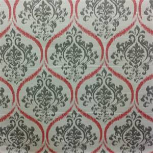 Monarch Fire Red Gray Ikat Design Upholstery Fabric