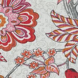 Mandarin Garden Papaya Orange Pink Floral Cotton Drapery Fabric