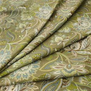 Valdosta Cliffside Heather Green Floral Paisley Linen Blend Drapery fabric by Swavelle Mill