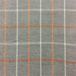 Herringbone Plaid Gray Orange Upholstery Fabric Swatch 51492