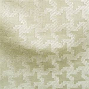 Linen Pearl Off White Embroidered Houndstooth Drapery fabric