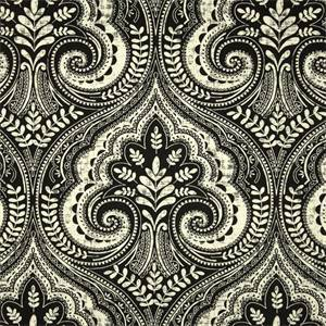 Wheeling Paramount Raven Black Floral Geometric Cotton Drapery Fabric by Swavelle Mill