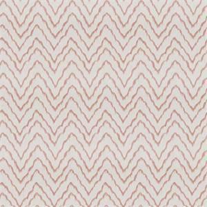 Widow's Tide MV Coral Peach Embroidered Ikat Chevron Stripe Drapery Fabric