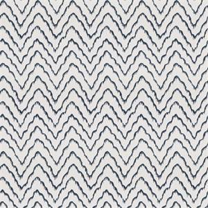 Widow's Tide Federal Blue Embroidered Ikat Drapery Fabric