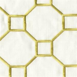 Westview MV Pear Green Embroidered Geometric Drapery Fabric