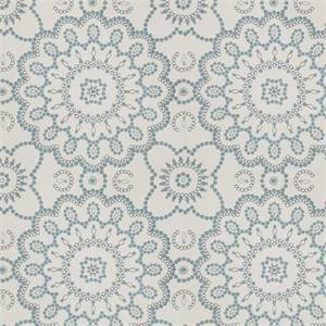 Seed Pearls MV Porcelain Blue Embroidered Floral Drapery Fabric