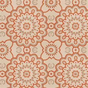 Seed Pearls MV Cinnamon Orange Embroidered Dot Floral Cotton Drapery Fabric