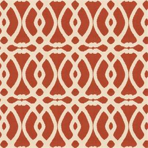 Marshall Lattice MV Cinnamon Orange Embroidered Geometric Design Drapery Fabric