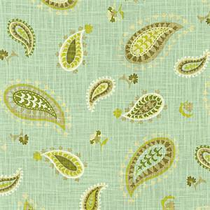 Desert Sky Spa Green Paisley Floral Cotton Drapery Fabric by Waverly