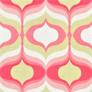 Hourglass Blossom Pink Geometric Cotton Drapery Fabric by Waverly