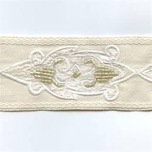 Americas Cream Embroidered Tape Trim
